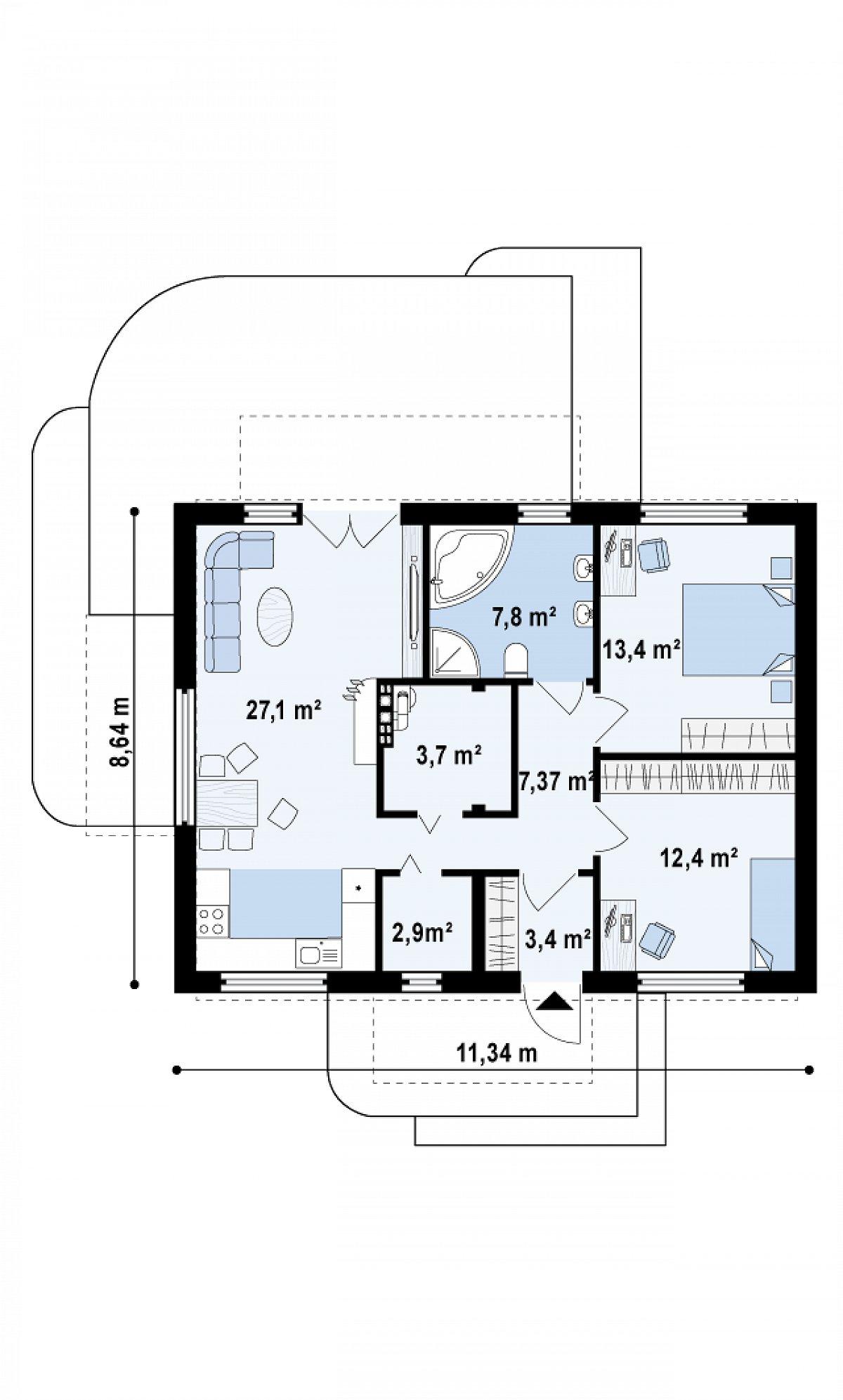 Первый этаж 78,0 м² дома Z252
