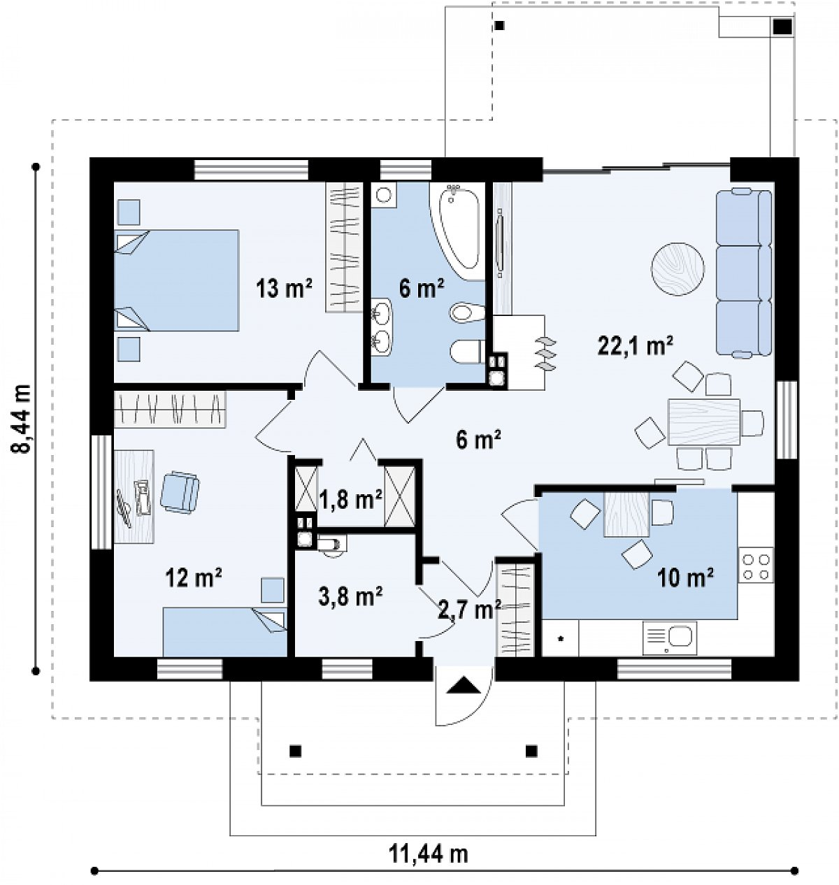 Первый этаж 77,5м² дома Z253