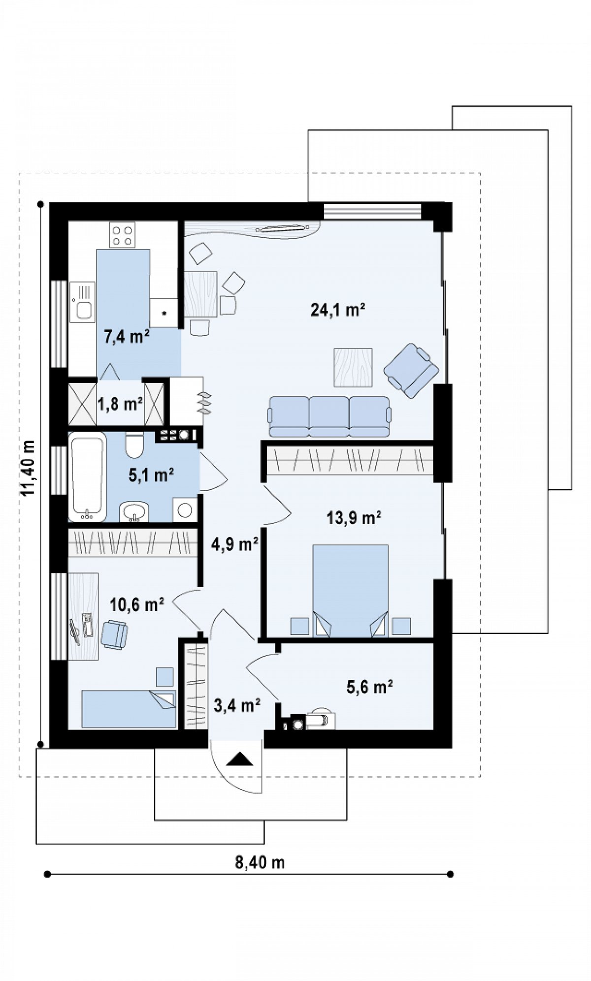 Первый этаж 76,8м² дома Z254