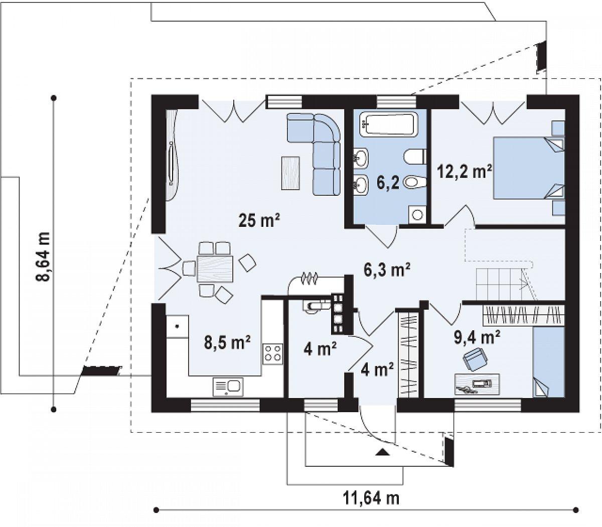 Первый этаж 80,5 м² дома Z255 a