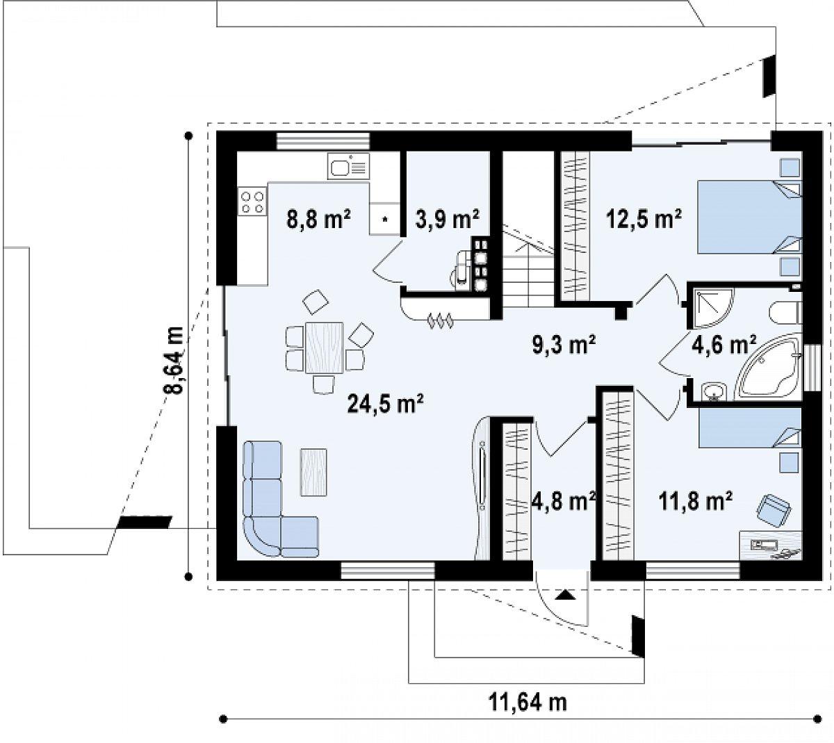 Первый этаж 80,2м² дома Z255
