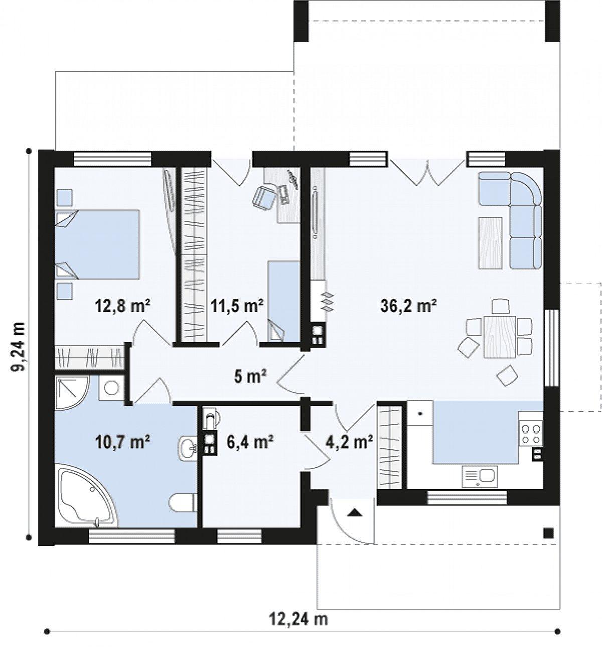 Первый этаж 86,9 м² дома Z256