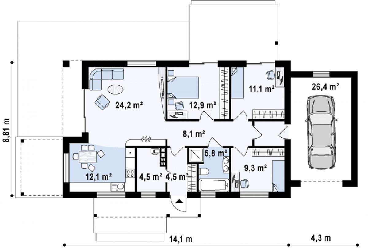 Первый этаж 95,9(121,3м²) дома Z258 GP