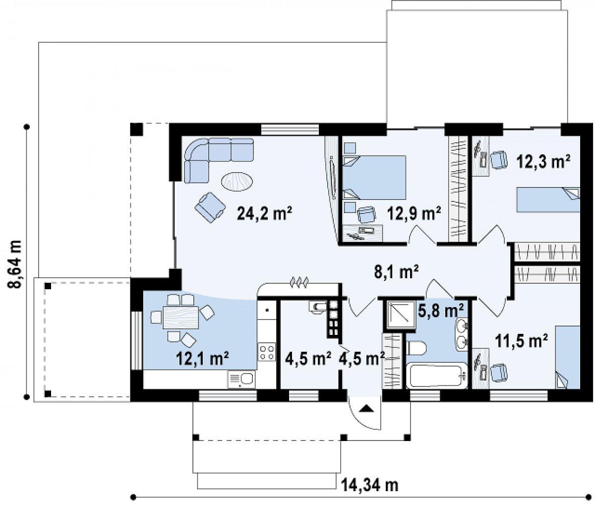 Первый этаж 95,9 м² дома Z258