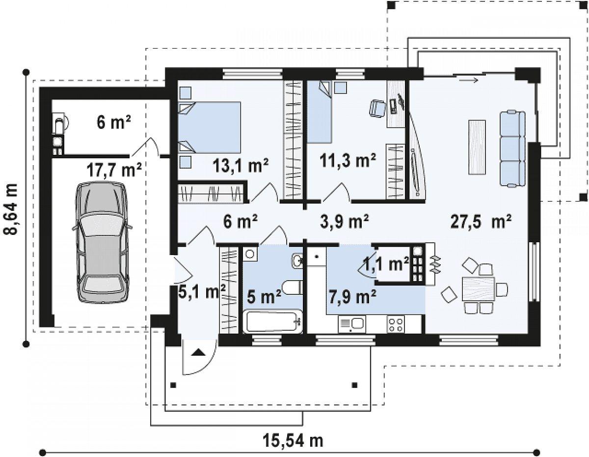 Первый этаж 80,9(104,6м²) дома Z259
