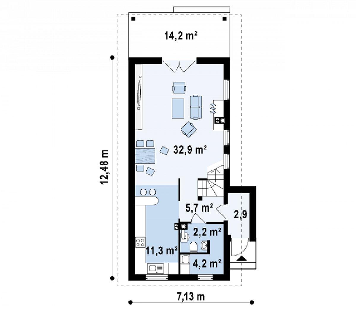 Первый этаж 59,2 м² дома Z25