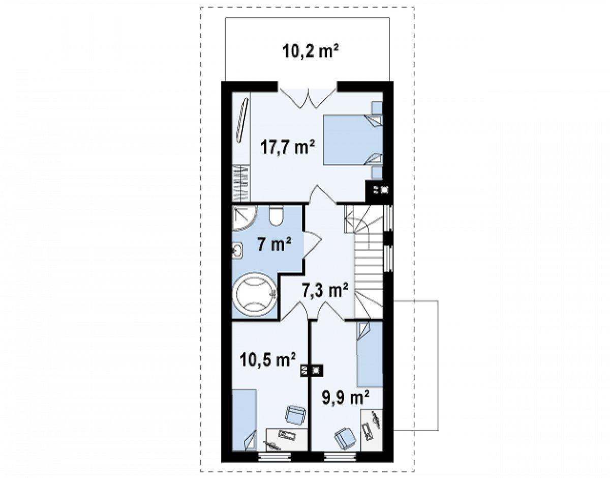 Второй этаж 52,9 м² дома Z25
