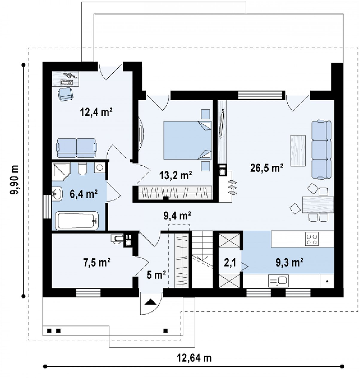 Первый этаж 91,9 м² дома Z261 v1