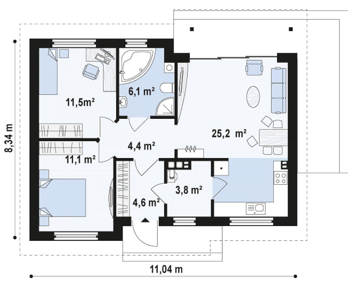 Первый этаж 66,7 м² дома Z262