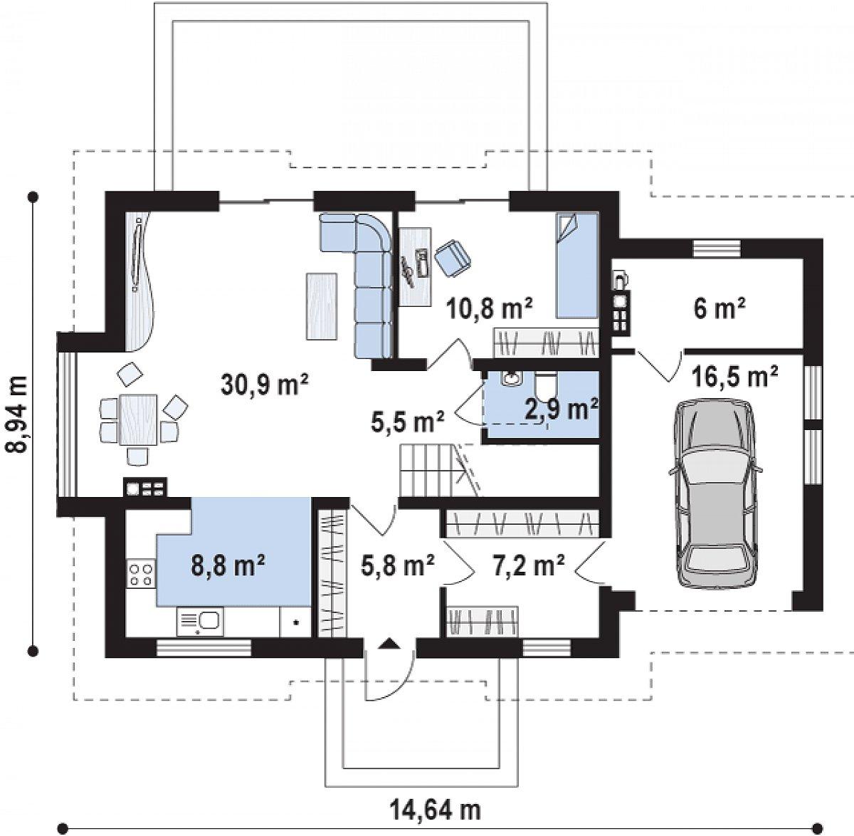 Первый этаж 71,7(94,3м²) дома Z263