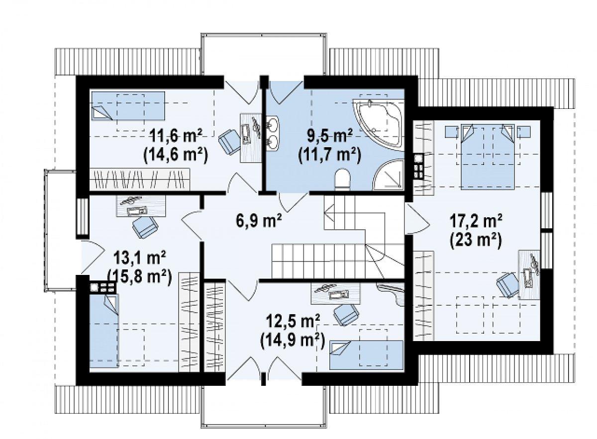 Второй этаж 70,9(86,9м²) дома Z263