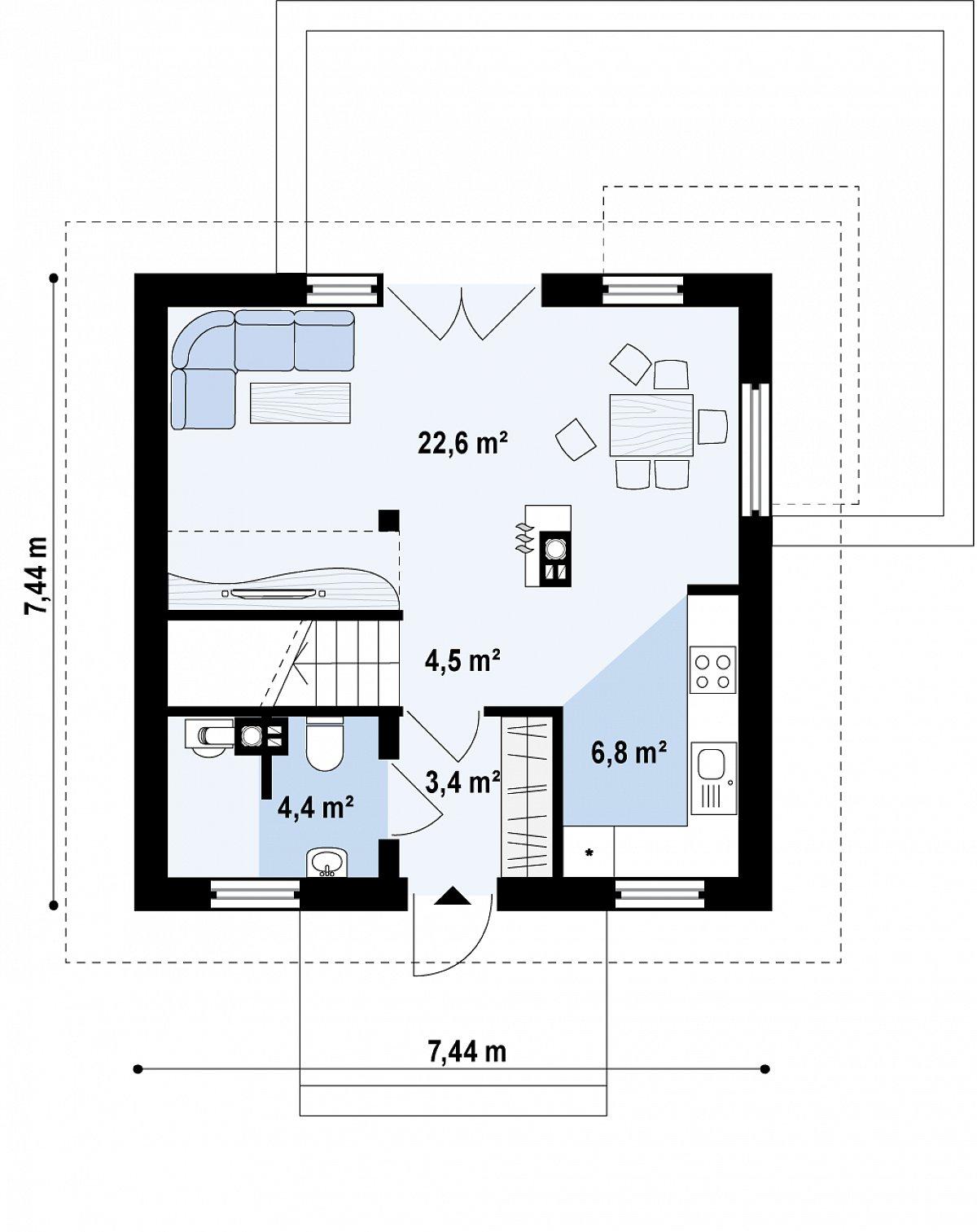 Первый этаж 41,5 м² дома Z264