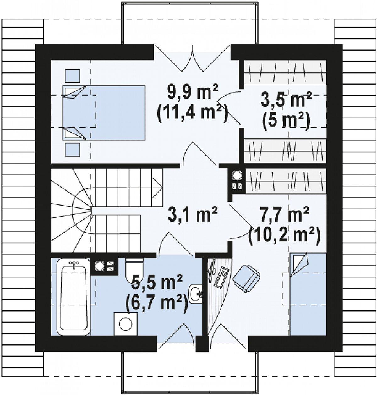 Второй этаж 29,6(36,3м²) дома Z264