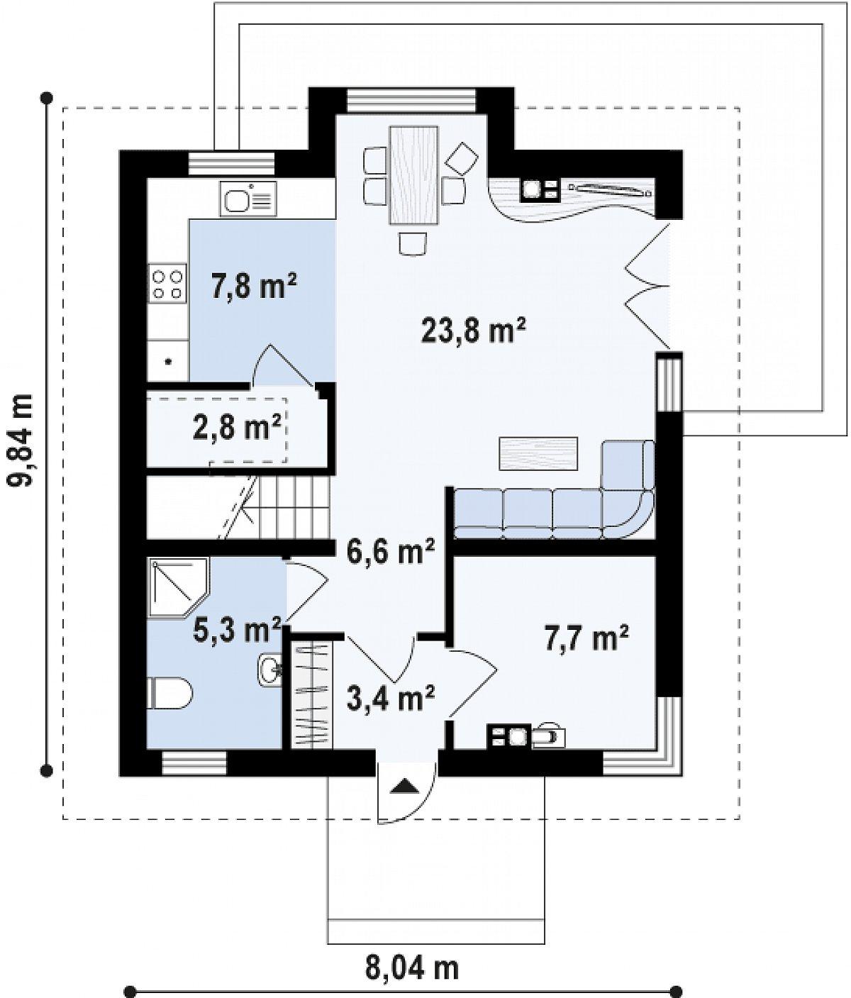 Первый этаж 57,0 м² дома Z265