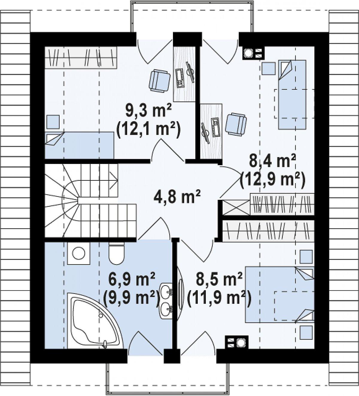 Второй этаж 38,3(51,9м²) дома Z265