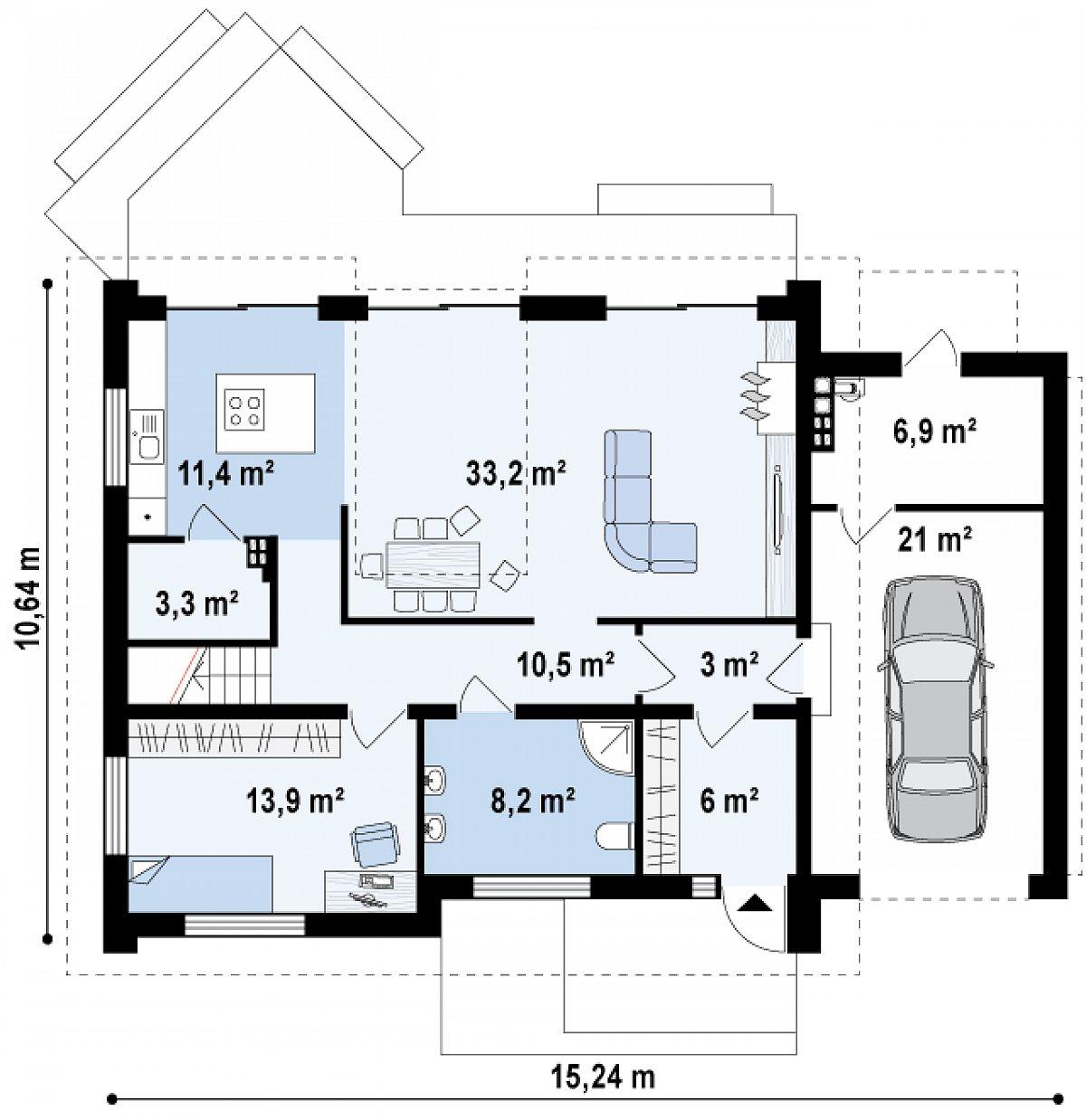 Первый этаж 89,5(117,4м²) дома Z266