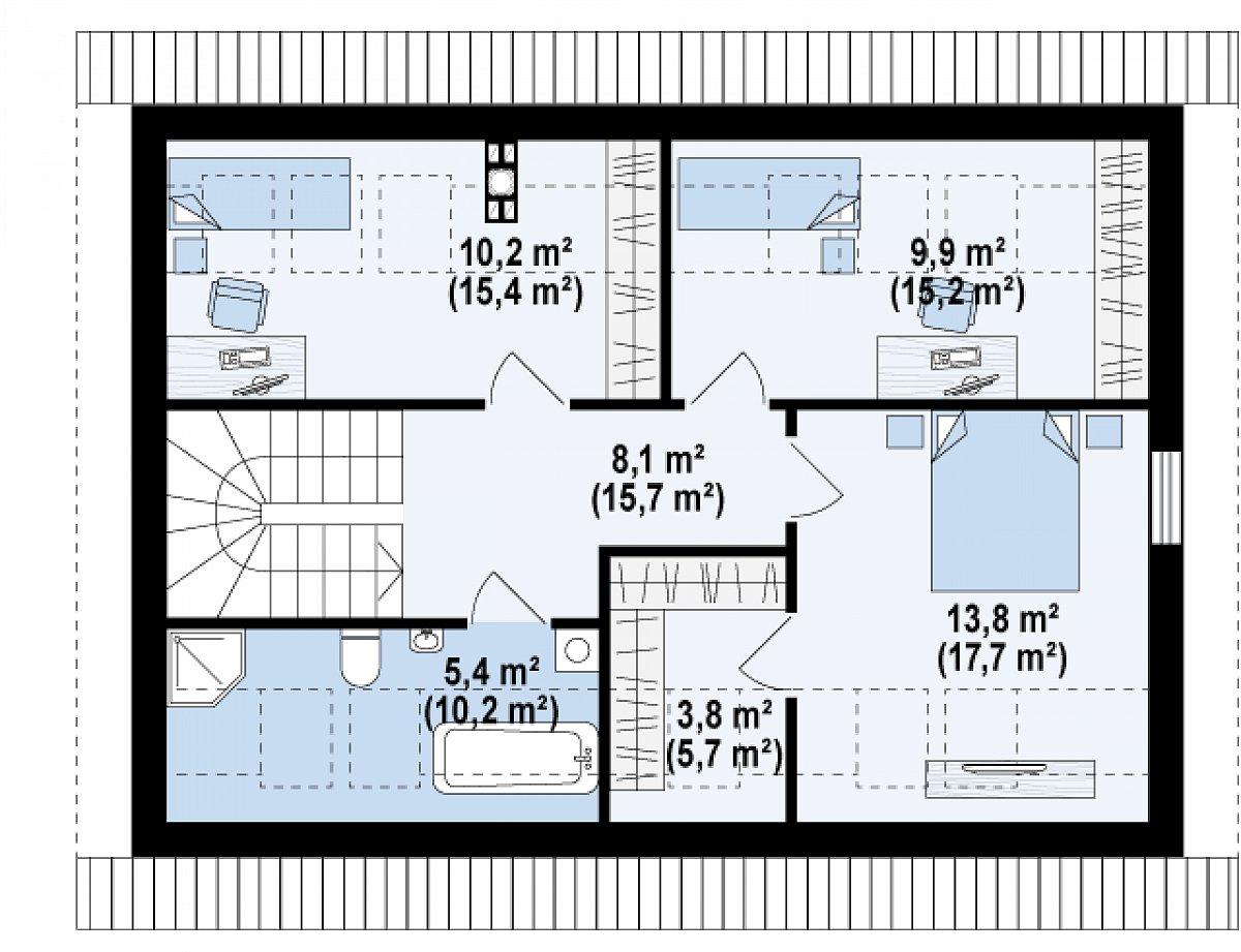 Второй этаж 51,3(80,1м²) дома Z267