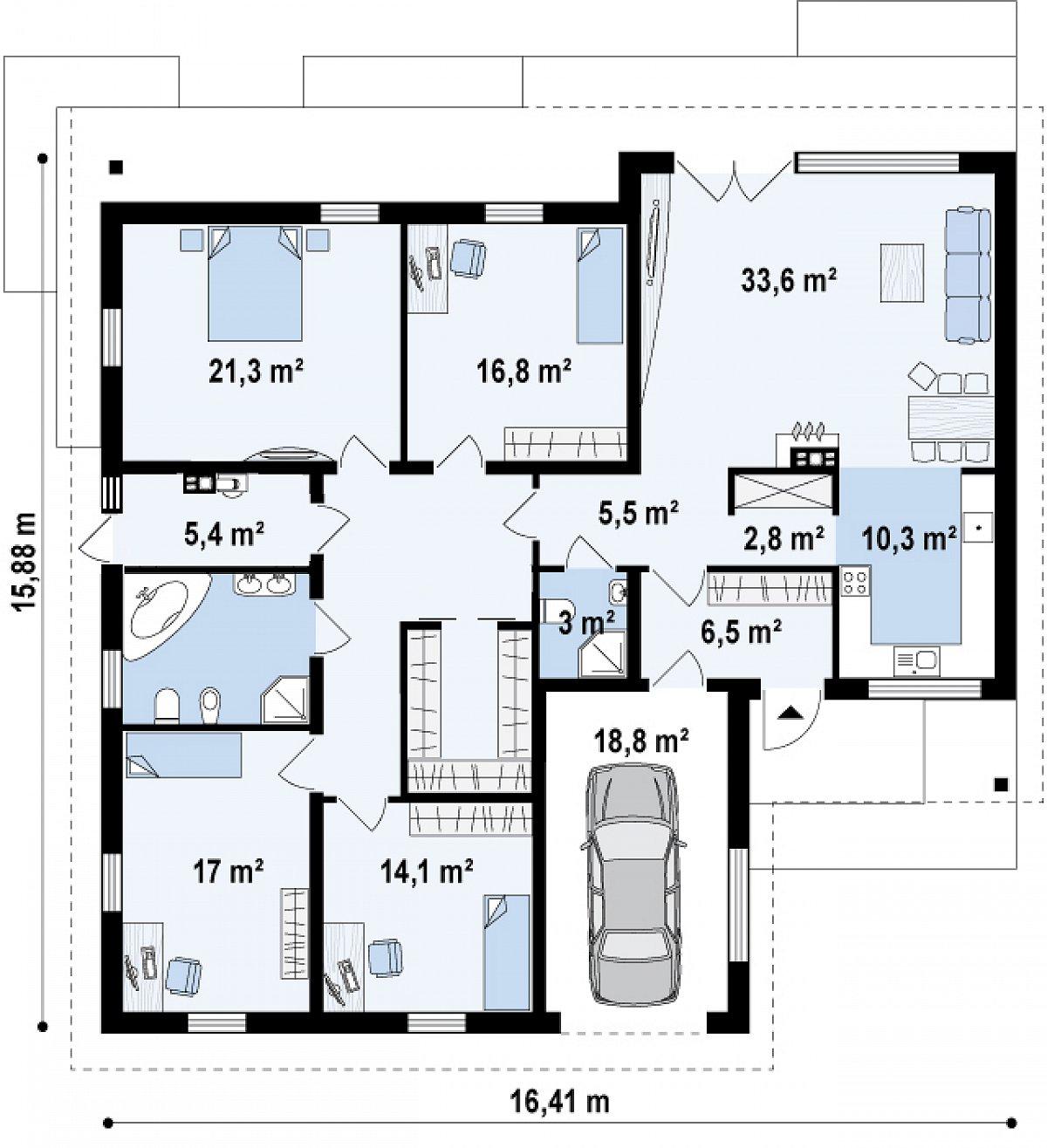 Первый этаж 166,6(185,4м²) дома Z268