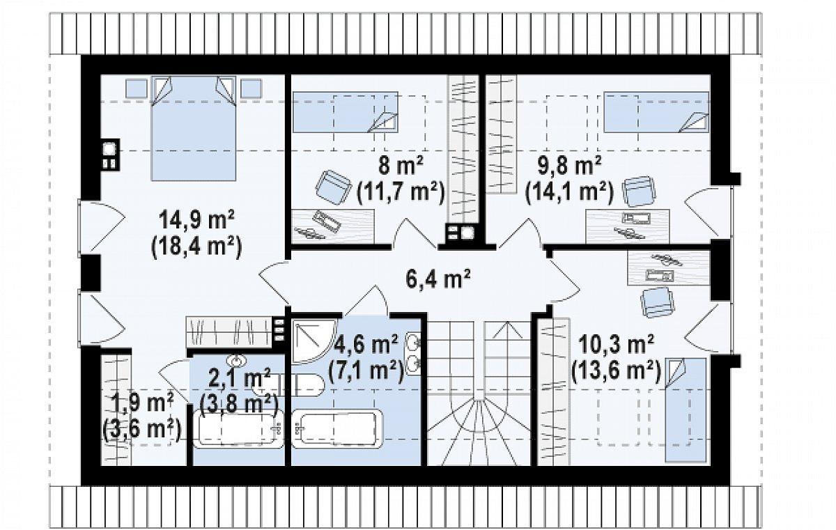 Второй этаж 57,7(78,1м²) дома Z269