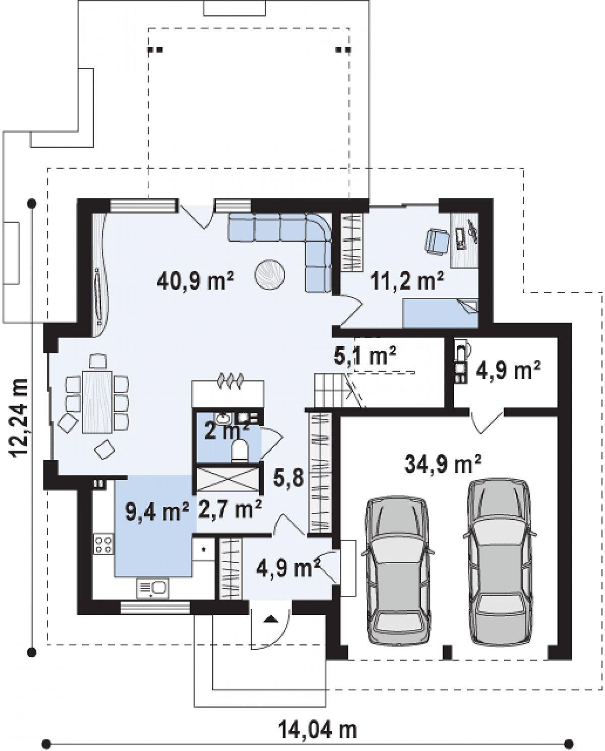 Первый этаж 82,1(122,0м²) дома Z270