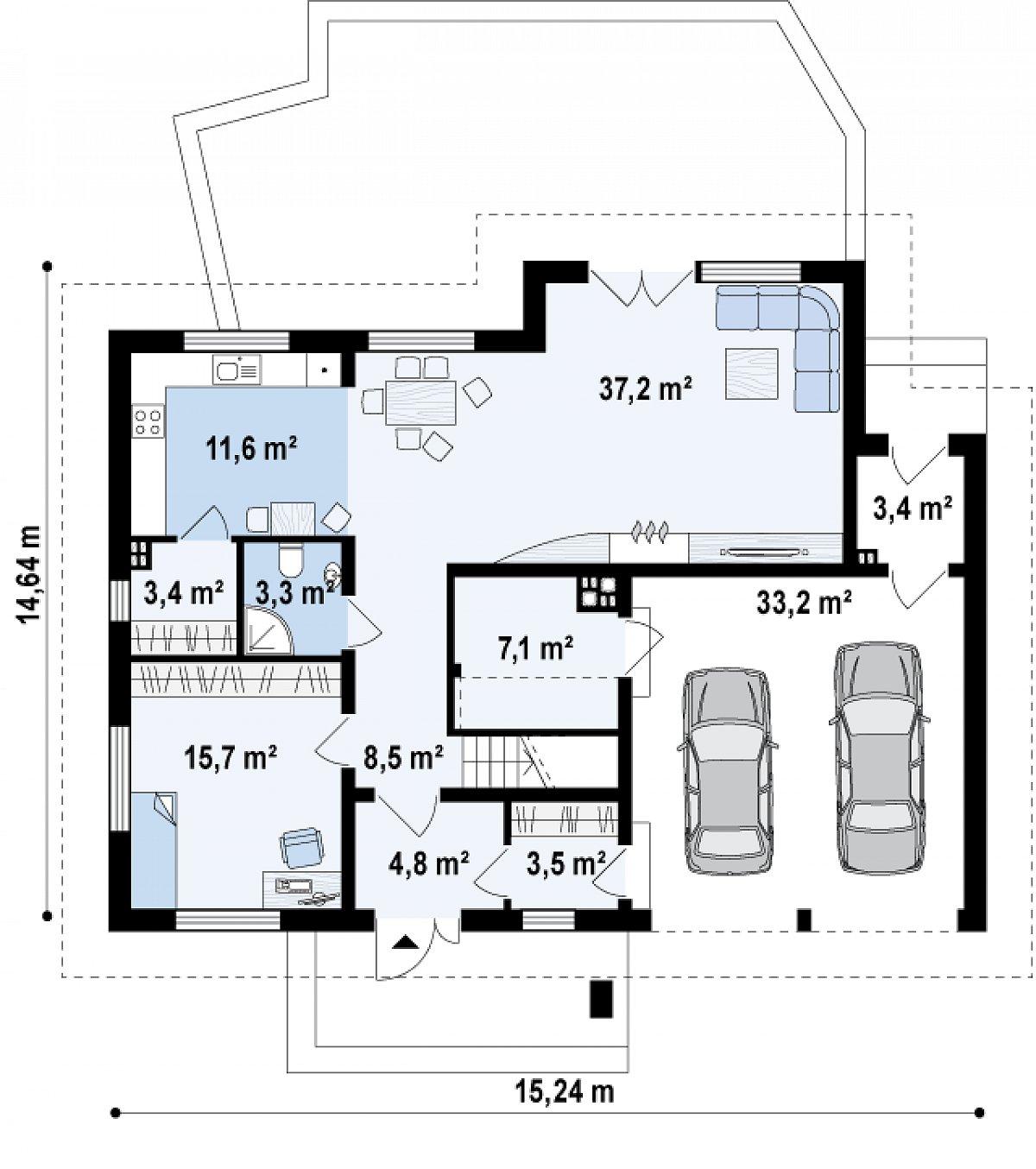 Первый этаж 98,4(131,6м²) дома Z272