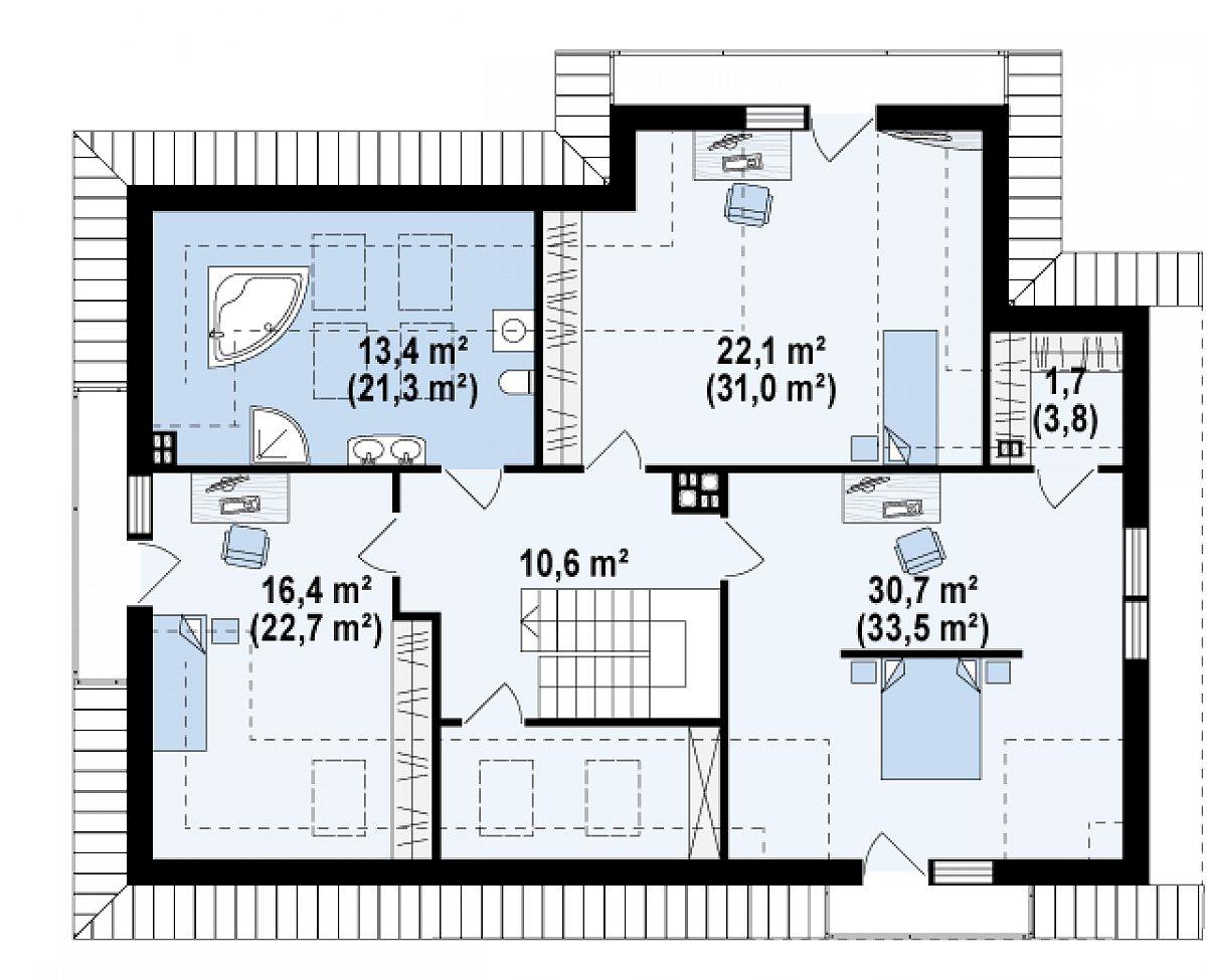 Второй этаж 98,7(131,3м²) дома Z272