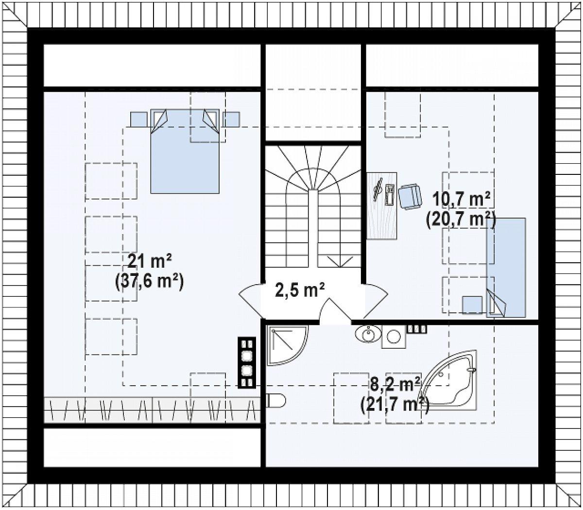 Второй этаж 27,0(83,0м²) дома Z273 Ph+ st