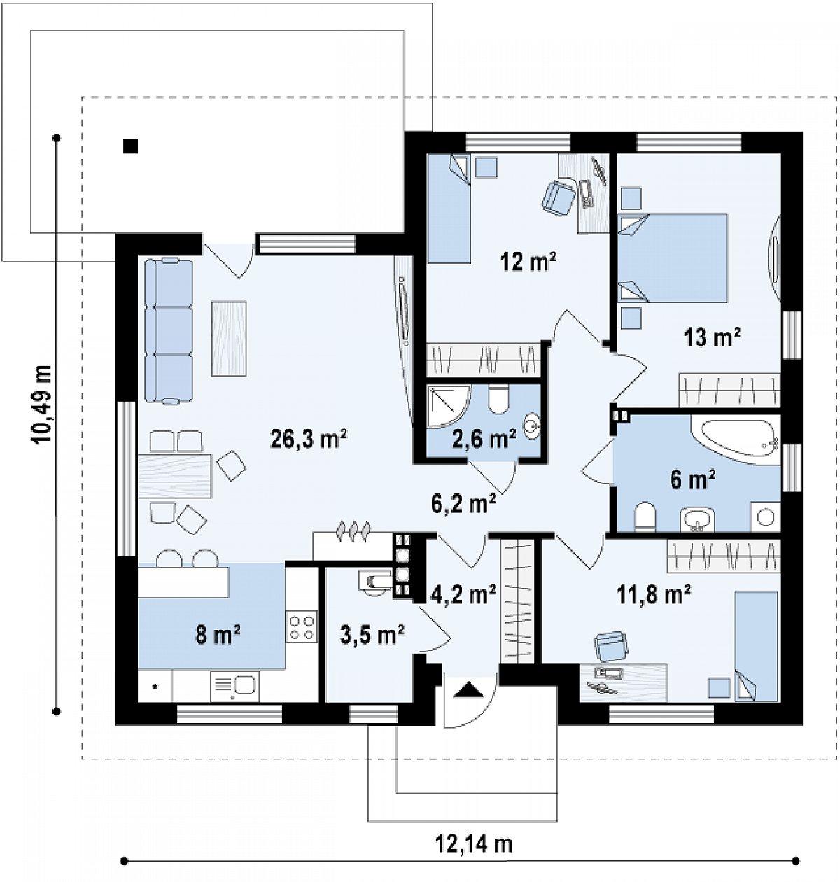 Первый этаж 93,6м² дома Z273