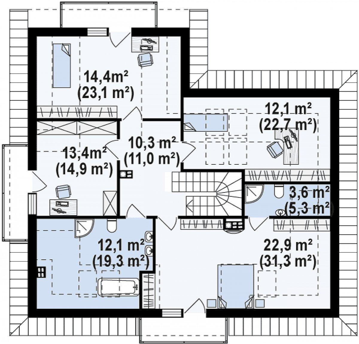 Второй этаж 84,5(127,4м²) дома Z275