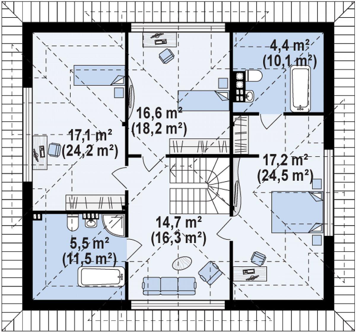 Второй этаж 75,7(105,0м²) дома Z278