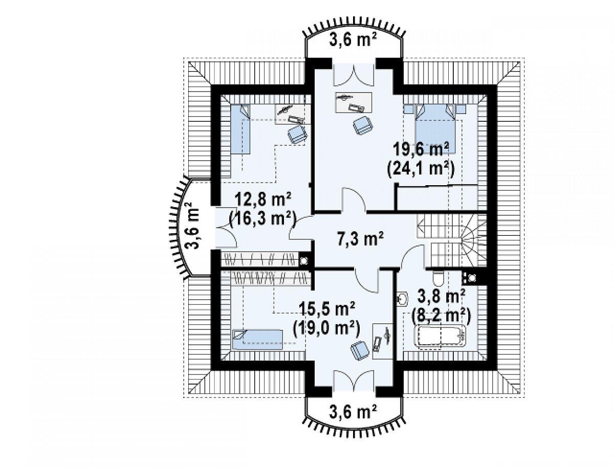 Второй этаж 59,1(75,8м²) дома Z27