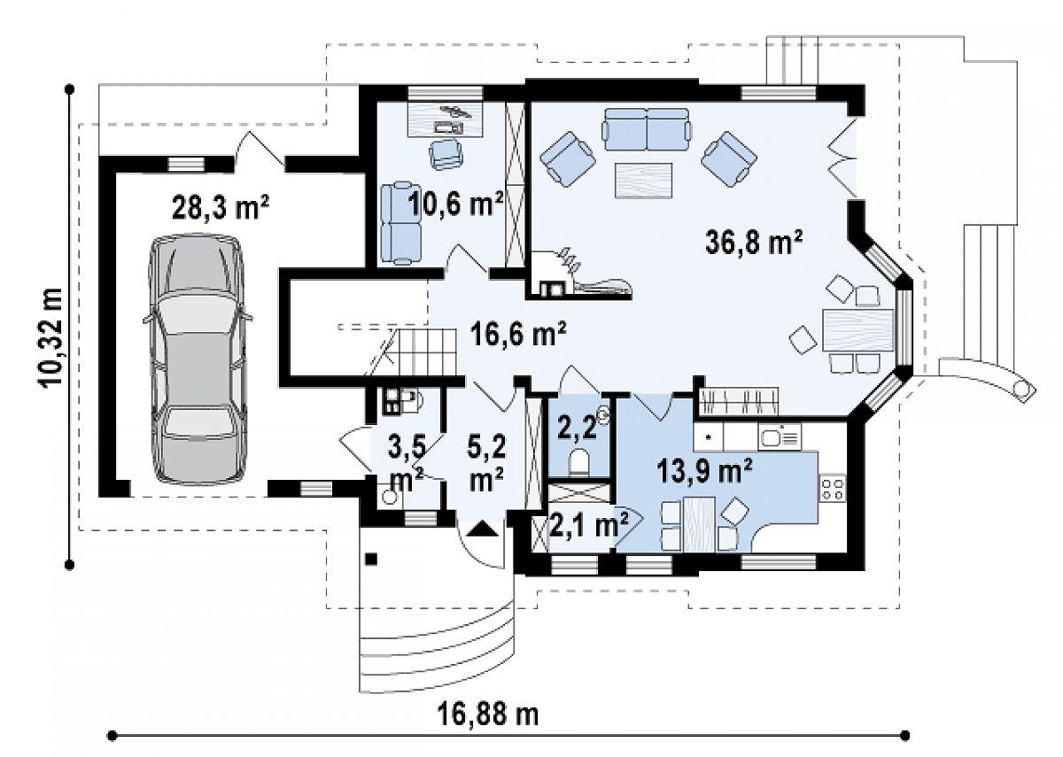 Первый этаж 91,2(119,5м²) дома Z28 GL