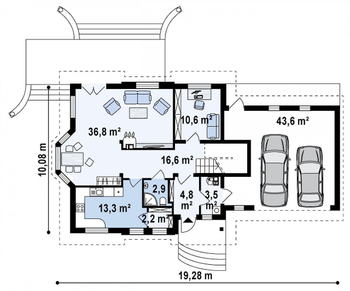 Первый этаж 90,9(134,5м²) дома Z28 L GP2