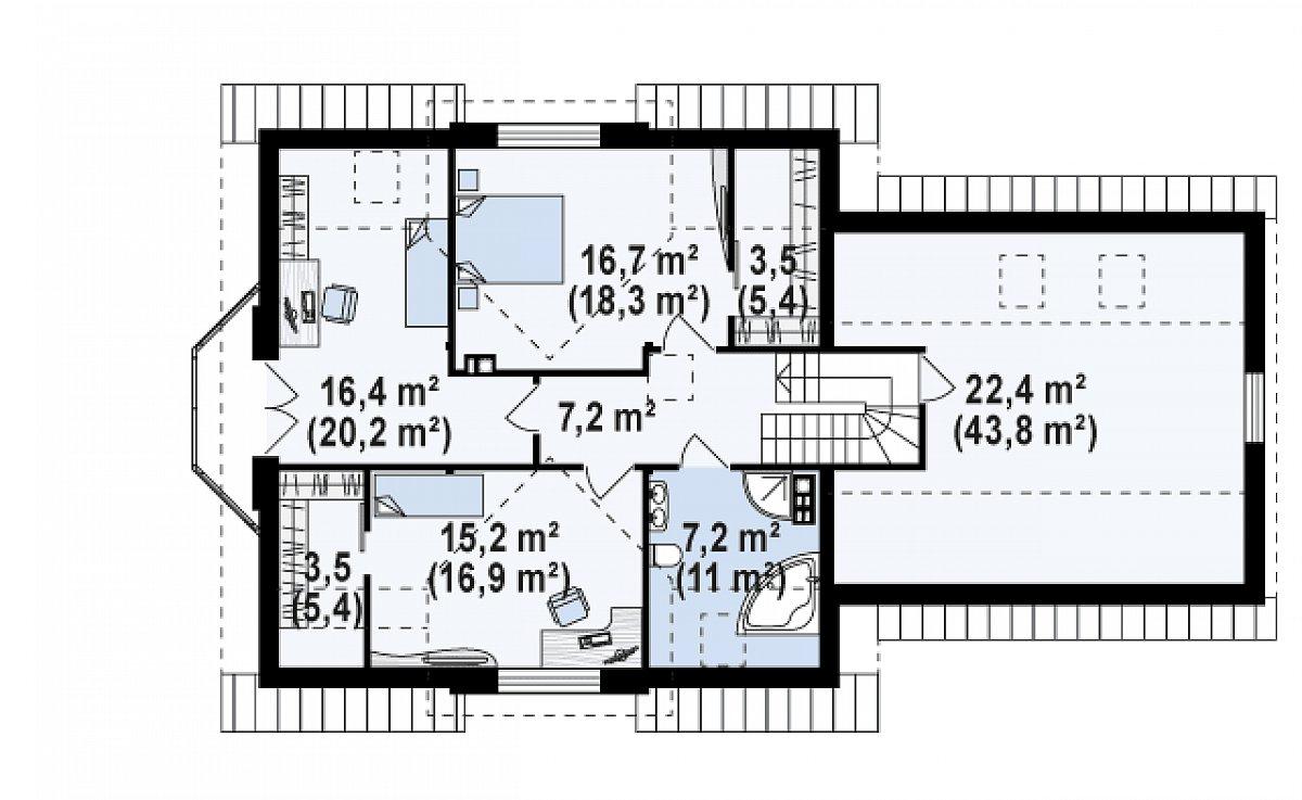 Второй этаж 88,0(124,1м²) дома Z28 L GP2