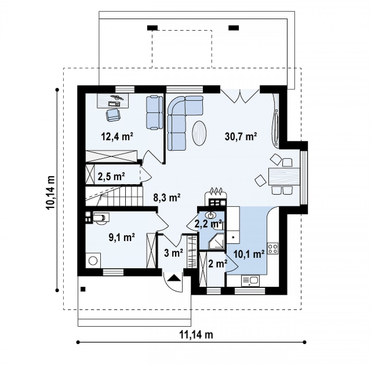 Первый этаж 80,9м² дома Z28 v2