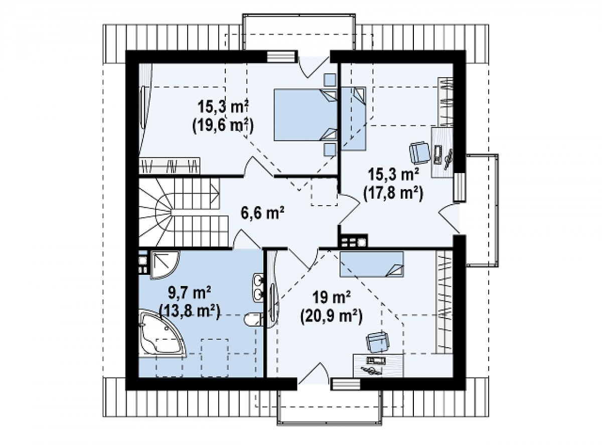 Второй этаж 66,0(78,8м²) дома Z28 v2
