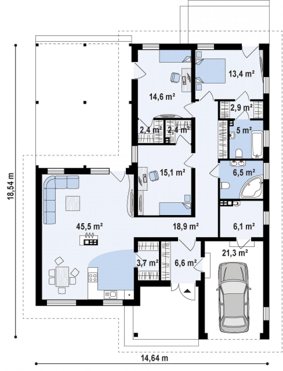 Первый этаж 144,6(165,7м²) дома Z280