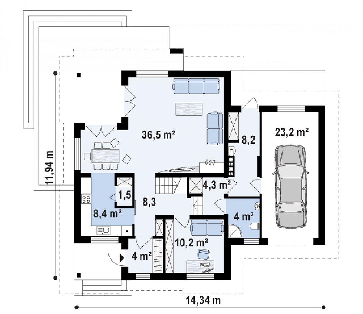 Первый этаж 77,2(108,5м²) дома Z284