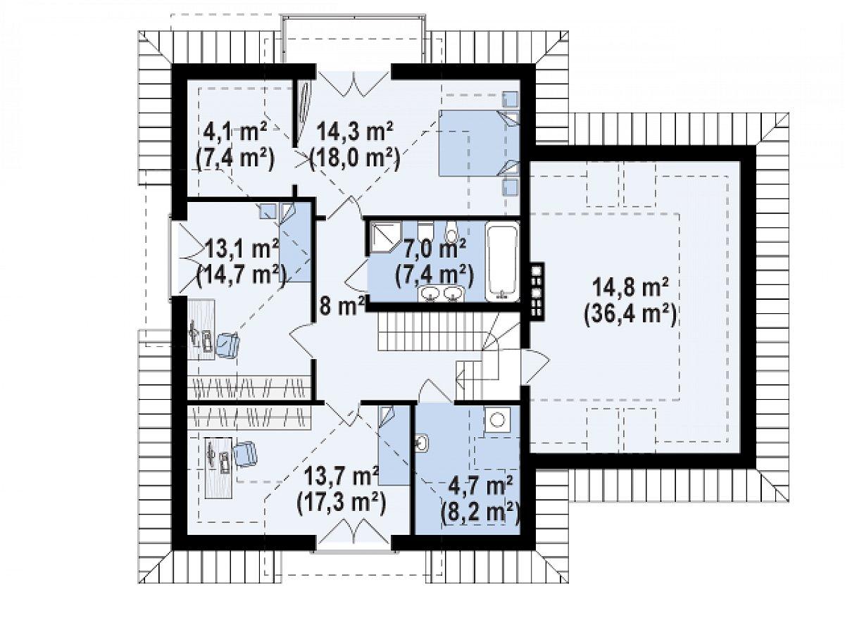 Второй этаж 79,7(117,5м²) дома Z284