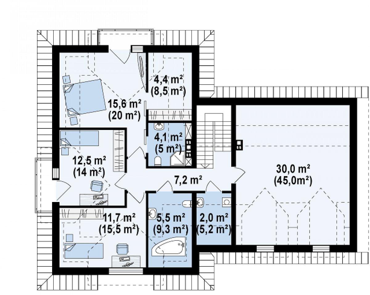 Второй этаж 63,0(129,6м²) дома Z286