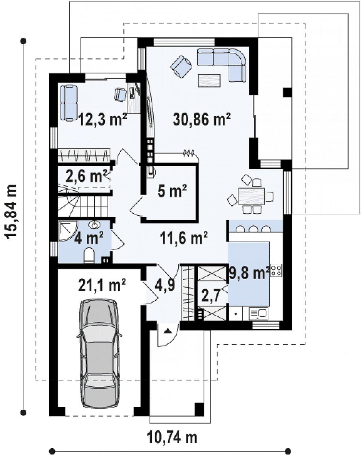 Первый этаж 83,9(104,9м²) дома Z288