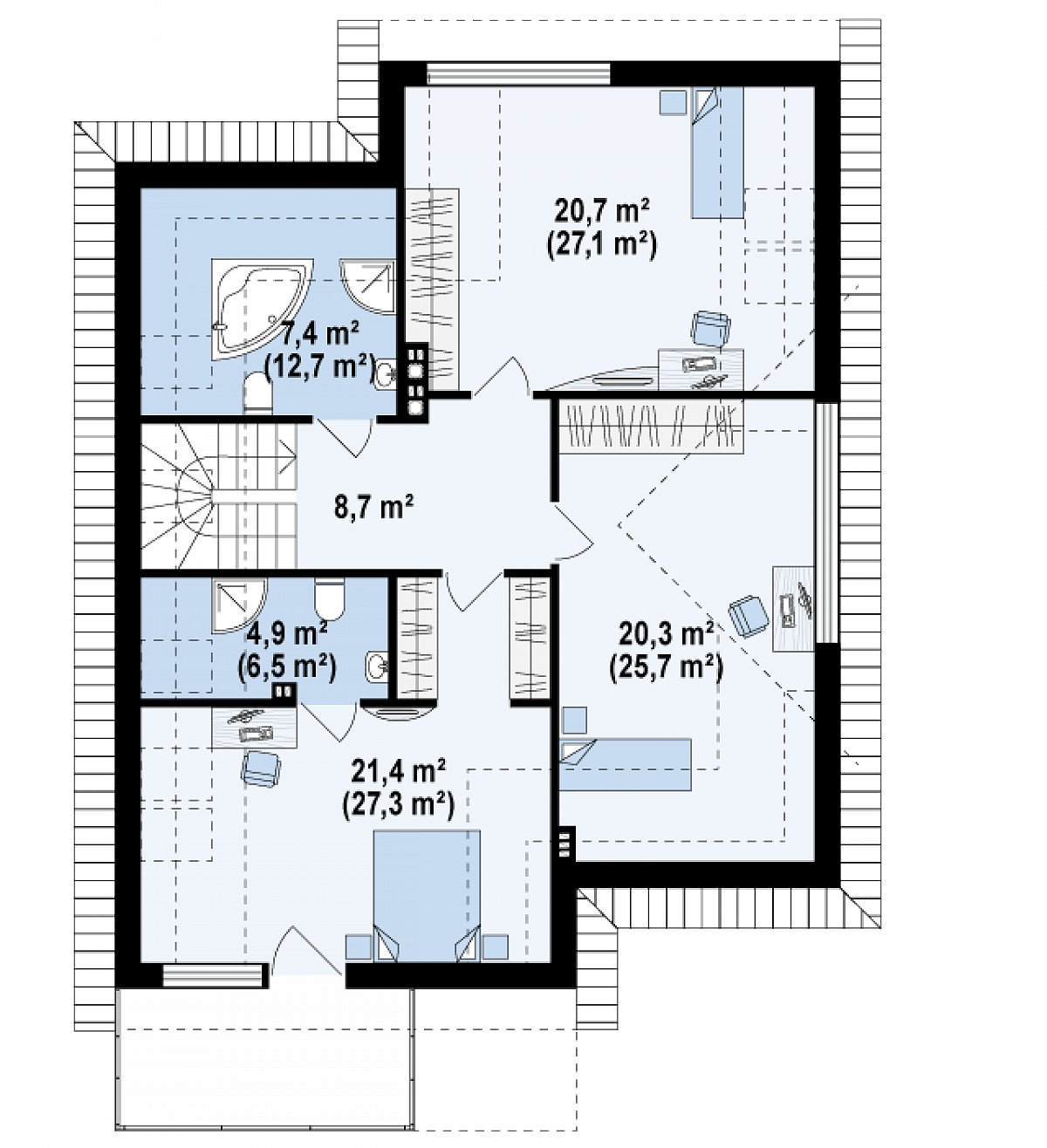 Второй этаж 83,4(108,0м²) дома Z288