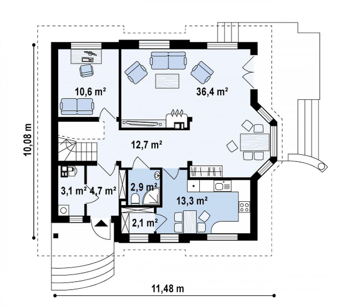 Первый этаж 85,9м² дома Z28