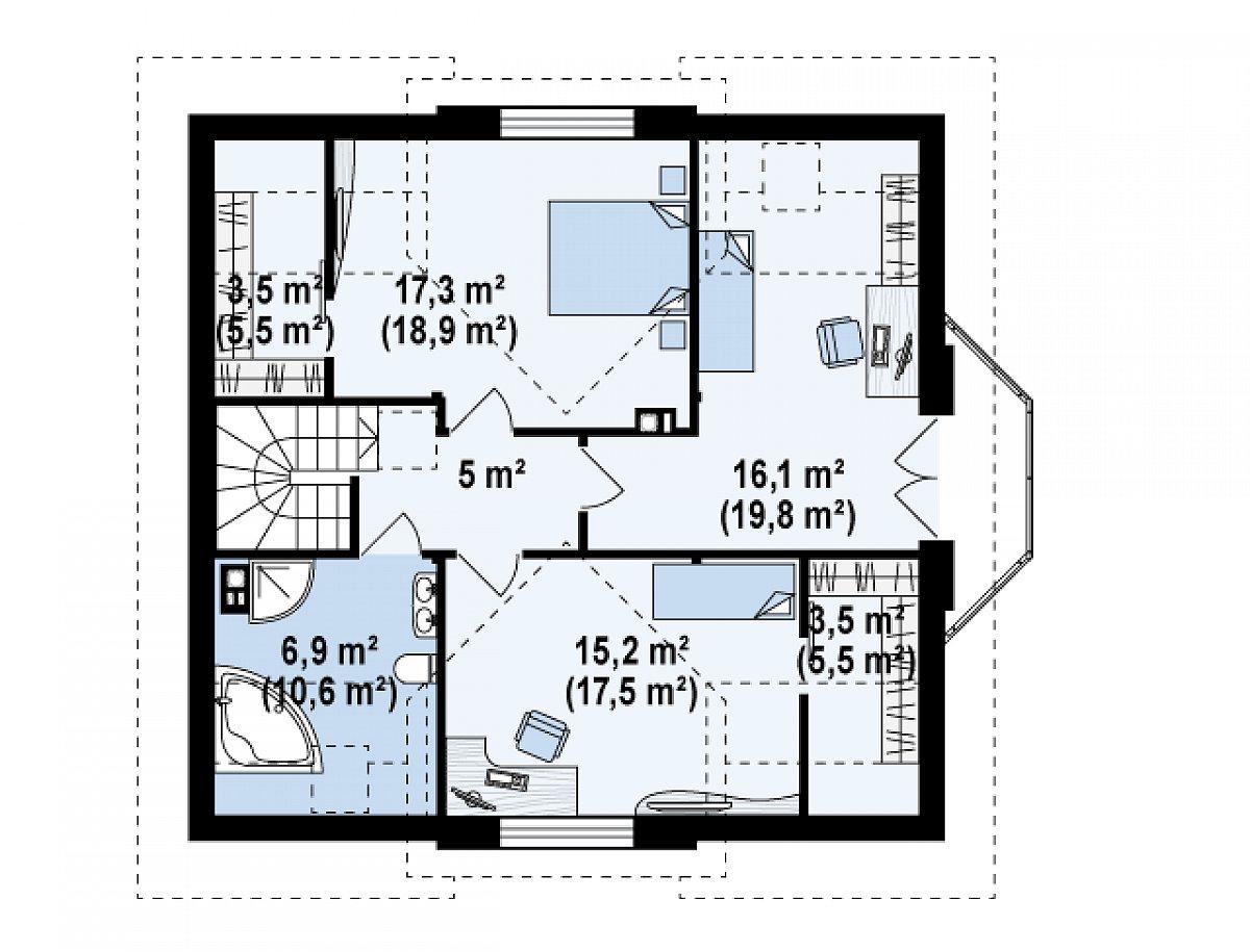 Второй этаж 67,5(82,7м²) дома Z28