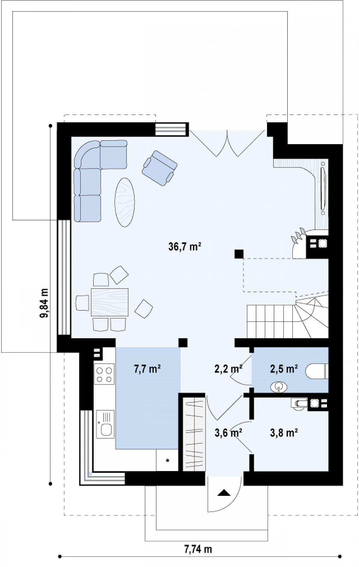 Первый этаж 56,6м² дома Z290