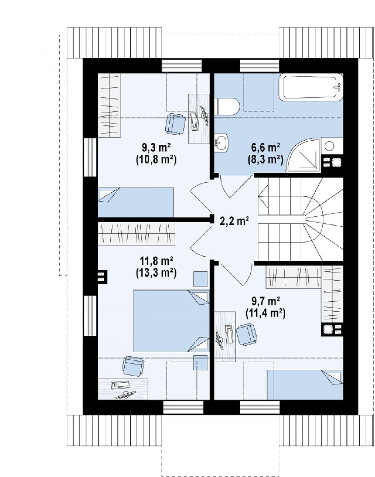Второй этаж 39,6(46,1м²) дома Z290