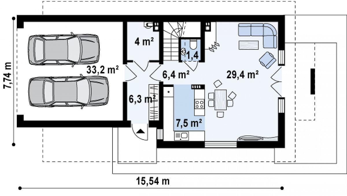 Первый этаж 55,0(88,2м²) дома Z292