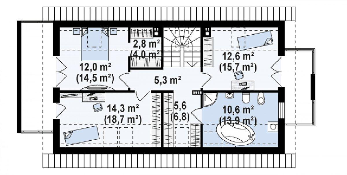 Второй этаж 62,4(79,0м²) дома Z292