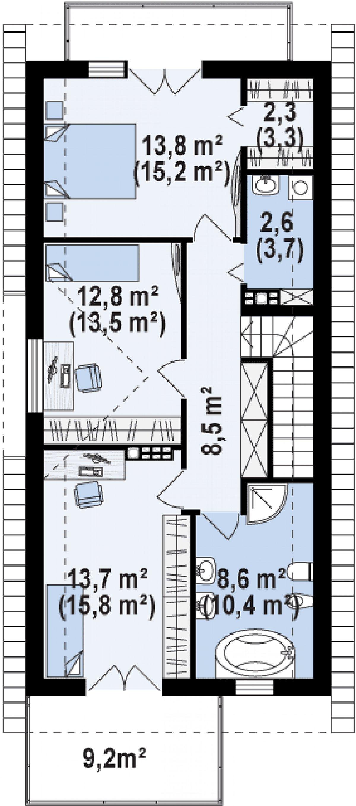 Второй этаж 62,3(70,3м²) дома Z293