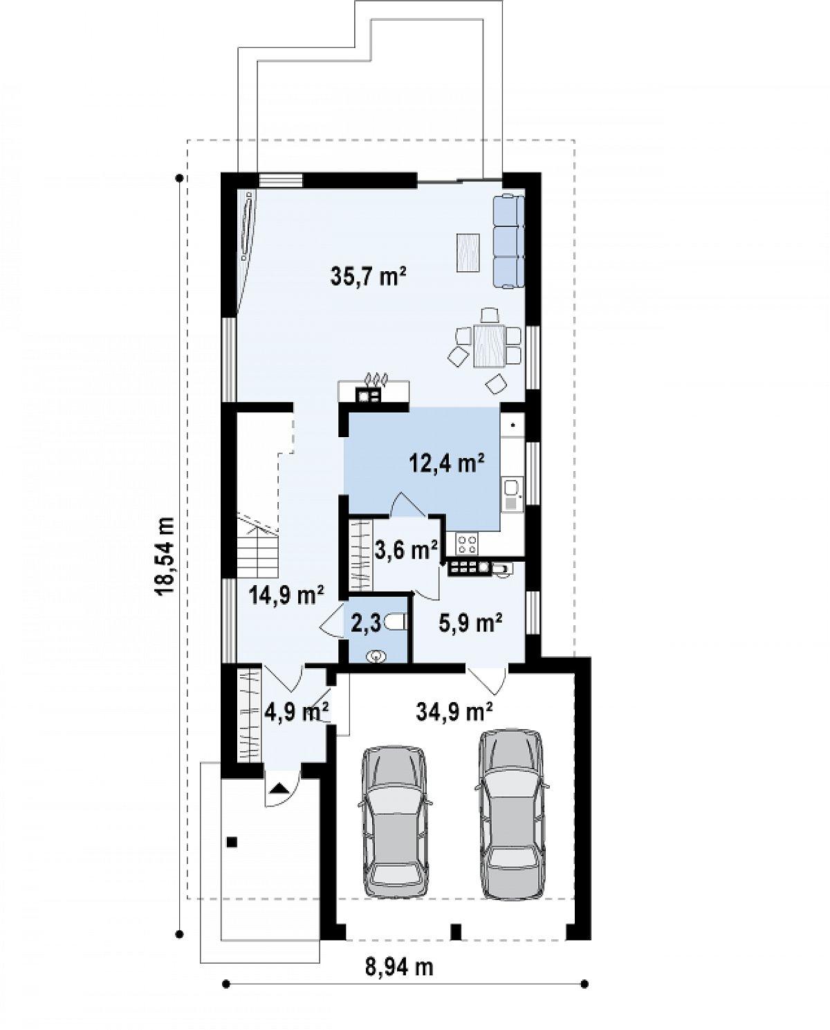 Первый этаж 79,8(114,7м²) дома Z294